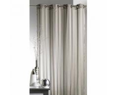 Voilage à œillets 100% polyester rayures tissées BRUNELLE Taupe 140x250cm