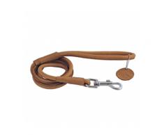 Laisse marron en cuir rond pour chien Chapuis Sellerie Diamètre 13 mm Longueur 1,22 m