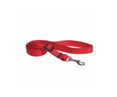Laisse sangle rouge nylon pour chien avec coutures réfléchissantes Chapuis Sellerie Largeur 25 mm Longueur 1,20 m