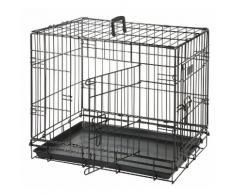 Cage pour chien Noir 2 portes L 77 cm x l 54 cm x 47 cm