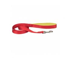 Laisse sangle rouge en nylon pour chien avec poignée confort Chapuis Sellerie Largeur 25 mm Longueur 1,20 m