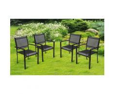 Chaises de jardin Textilène Alva : 4 / Noir