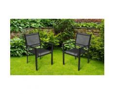 Chaises de jardin Textilène Alva : 2 / Noir