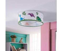 Lampenwelt.com Dinoland - plafonnier chambre d'enfant, tissu, LED - LAMPENWELT.com