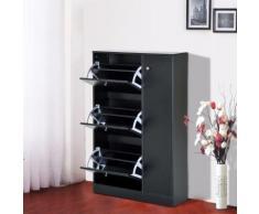 Armoire meuble à chaussures multi-rangements 3 abattants et 5 casiers double niveau 80L x 24l x