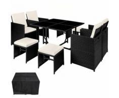 Salon de Jardin BILBAO - Ensemble avec 4 Chaises, 4 Tabourets et 1 Table en Résine Tressée Acier
