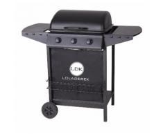 Barbecue à gaz 3 brûleurs mobile 2 roues - L 55 x l 104 x H 98