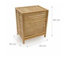 Panier à linge corbeille bambou coffre bois sac rangement 60 cm