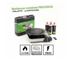 Barbecue réchaud gaz piezo + grille 2.2 KW Providus + 4 cartouche gaz 227g gaz butane Camping