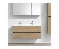 Double vasque à poser 140 cm Lavabo Marbre de synthèse Blanc salle de bain