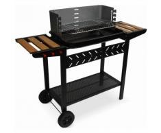 Barbecue charbon Alfred noir et gris, cuve émaillée, tablettes latérales bois, hauteur de grille