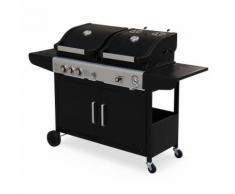 Barbecue 2 en 1 gaz et charbon - Marsac Noir - 2 brûleurs + 1 feu latéral, grilles en fonte,