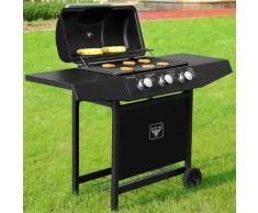 Barbecue à gaz / BBQ El Toro® avec 3 brûleurs roues acier jardin grillades
