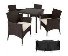 Salon de jardin SEVILLA - 4 Chaises et 1 Table en Résine Tressée POLY ROTIN Structure Acier +