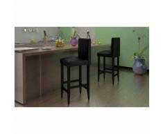 vidaXL Tabouret de bar 4 pcs Cuir artificiel Noir