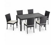Salon de jardin en résine tressée 6 chaises, Noir, table d'extérieur design