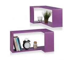 Relaxdays Coin étagère dAngle Lot de 2 Plateau Mural Suspendu Design Moderne Flottant, Violet