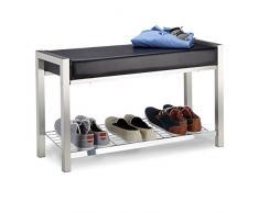 Relaxdays étagère à Chaussures en métal, Assise rembourrée à Chaussures Banc à Chaussures, tiroirs de Rangement H x L x P : 47 x 80 x 31 cm, en MÉTAL, Noir