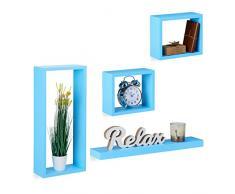 Relaxdays Étagère Murale Set de 4 avec Une Tablette et 3 Cubes flottants à Suspendre déco, Bleu