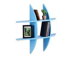 Relaxdays Étagère Murale 6 Compartiments Design Original décoration Tablette Flottante 17 cm Profondeur, Bleu