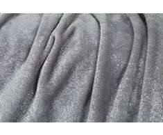 Kanguru Plaid Glitter by Couverture Polaire Douce, avec élégantes Paillettes.Paillettes Moon 130 x 170 cm, 100% Polyester, Gris, Unique, 100
