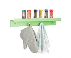 Relaxdays Patère Murale étagère Porte-Manteaux Tablette Rangement Crochet Tablette clés HxlxP: 10 x 60 x 11,5 cm, Vert