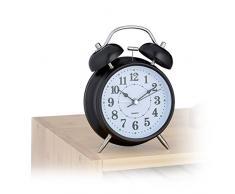 Relaxdays 10021736_46 Réveil Rétro, 17x12x6,5cm, Horloge Carillon, Fonction à Piles, Montre à Quartz en Métal, Noir, HLP 17 x 12 x 6, 5 cm