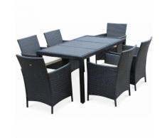 Salon de jardin Tavola 6 noir en résine tressée, table d'extérieur 150cm avec 6 fauteuils