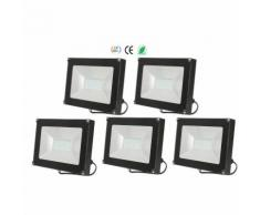 5×30W Projecteur LED Spot LED Étanche IP65 Léger Lampe Solide pour Extérieur et Intérieur Blanc