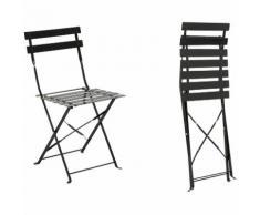 Chaise de jardin métal pliante Camargue Noire