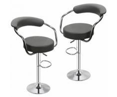 Tabourets de bar de cuisine imitation cuir Chaise réglable en hauteur 55 à 75 cm (Lot de 2, Noir)