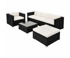 Salon de jardin MILAN - 4 Chaises Fauteuils, 1 Table et 1 Tabouret en Résine Tressée structure