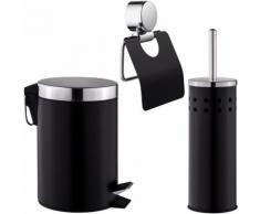 Set de Salle de Bain Toilettes WC Design 3 Pièces : 1 Poubelle, 1 Balayette Brosse, 1 Dérouleur de
