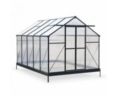 Serre de jardin HÊTRE premium noire en polycarbonate 8.7m² avec base, 4 lucarnes de toit,