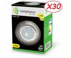 Lot de 30 Spot Led Encastrable Complete Alu Brossé Lumière Blanc Chaud 5W eq.50W ref.763