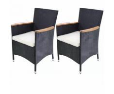 Chaises de jardin 2 pièces Résine tressée Noir 59 x 60 88 cm