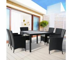 Salon de jardin 13 pièces - Plateau en verre dépoli - chaises empilables - Noir