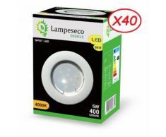 Lot de 40 Spot Led Encastrable Complete Blanc Lumière Blanc Neutre 5W eq.50W ref.770