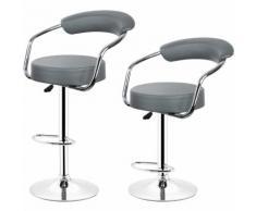 Tabourets de bar de cuisine imitation cuir Chaise réglable en hauteur 55 à 75 cm (Lot de 2, Gris)