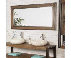 Grand Miroir de salle de bain Elégance teck métal 145x70