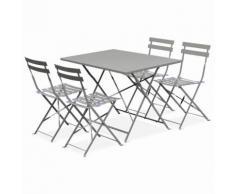 Salon de jardin bistrot pliable Emilia rectangulaire gris taupe, avec quatre chaises pliantes,
