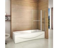 Pare baignoire 100x140cm paroi de douche rectangle pivotante à 240°verre securit avec