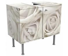 Meuble sous vasque Roses blanches - Dimension: 55cm x 60cm