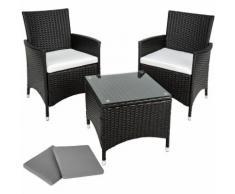 Salon de jardin ATHENES - 2 Chaises Fauteuils et 1 Table en Résine Tressée structure Aluminium Noir