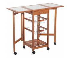 Chariot de service desserte à roulettes pliable multi-rangements tiroir étagère paniers plan