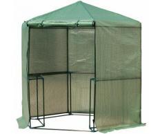 Serre de jardin hexagonale 1,94(diam.) x 2.2H m 5 tablettes acier PE haute densité 140 g/m² anti-UV