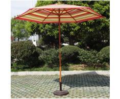 Parasol centré rond Ø 2,70m structure en bois teck et toile en polyester multicolore - Hauteur max