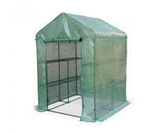 Serre de jardin Basilic 2m² avec 2 étagères en polyéthylène