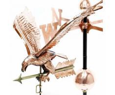 Grande Girouette 3D Aigle sur éolienne en Cuivre avec pied de support
