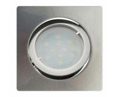 Lot de 12 Spot Led Encastrable Carré Alu Brossé Orientable lumière Blanc Chaud 5W eq. 50W ref.411